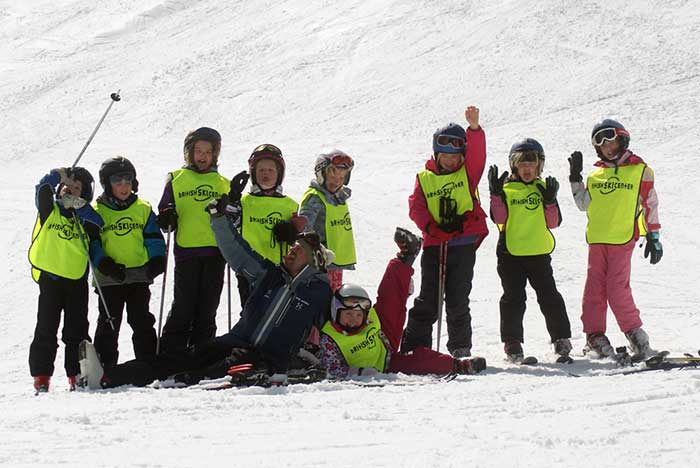 Children enjoying ski lessons Sierra Nevada