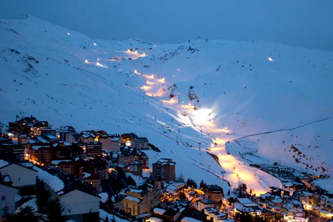 Night Skiing Sierra Nevada Spain