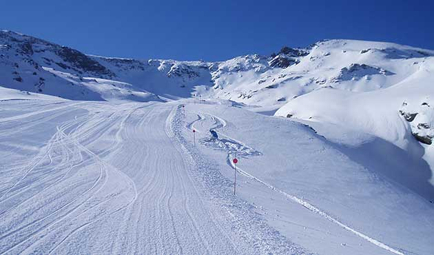 Snow and blue sky at Sierra Nevada ski resort Spain - great ski conditions