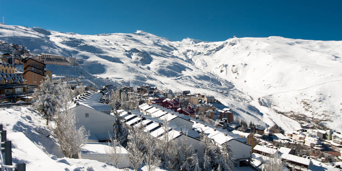 The Sierra Nevada Ski resort, Granada Spain - panorama